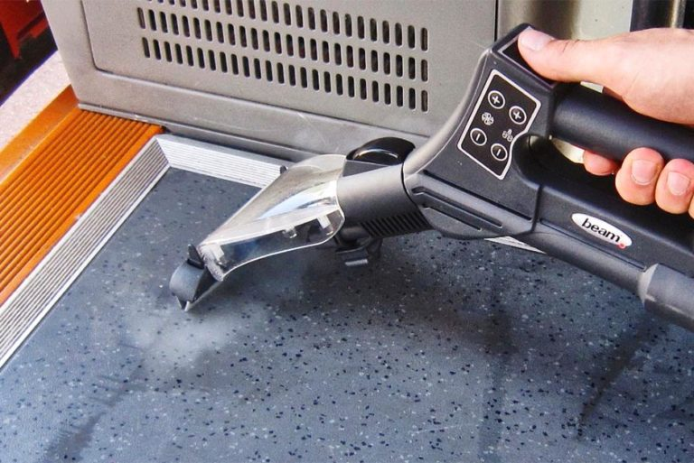 BlueEvolution sanitizes surfaces with its high steam pressure